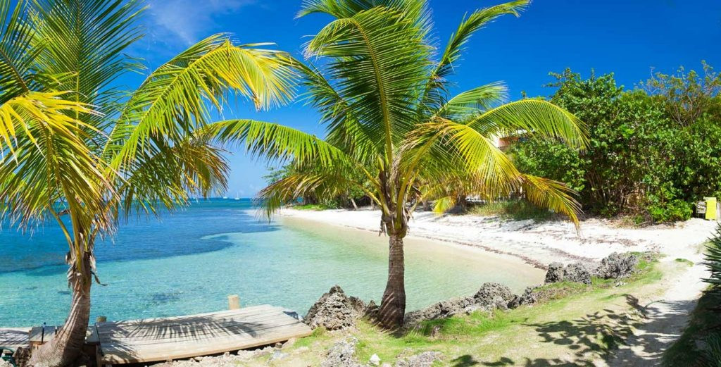 karaibska plaża Roatan Honduras